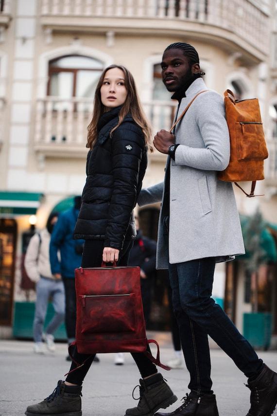 Leather backpack buckle small travel rucksack purse backpack adjustable buckle backpack boho chic backpack vintage backpack