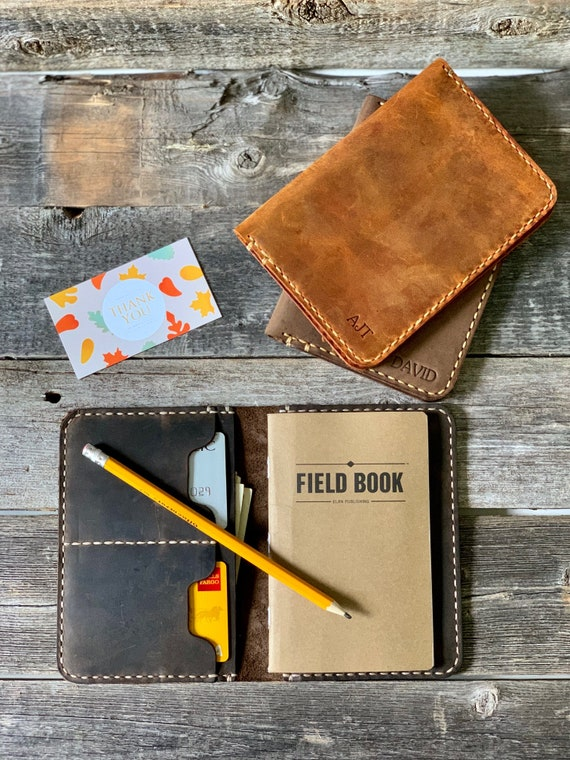 Leather Field Notes Cover- Leather Journal/Travel Wallet, Groomsmen Gift Personalized notebook #TEXAS0024