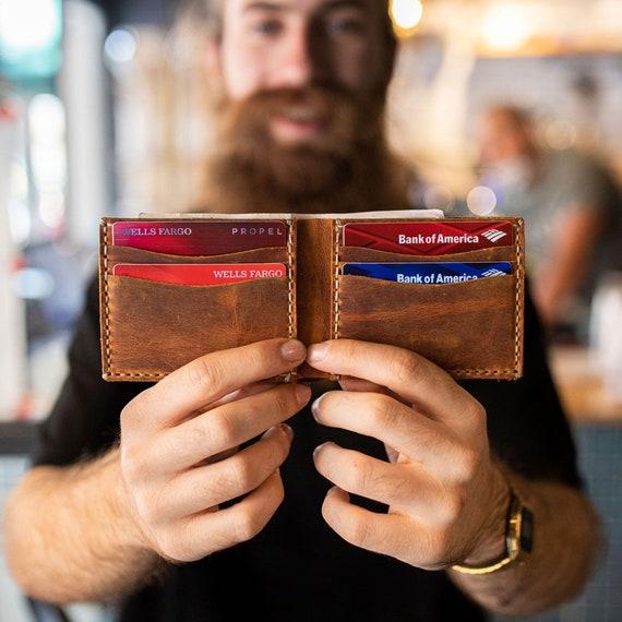 Bifold Wallet, Handmade leather wallet Leather, Personalized Wallet, Man Wallet, minimalist wallet, Groomsmen Gift- Cinnamon # TEXAS005