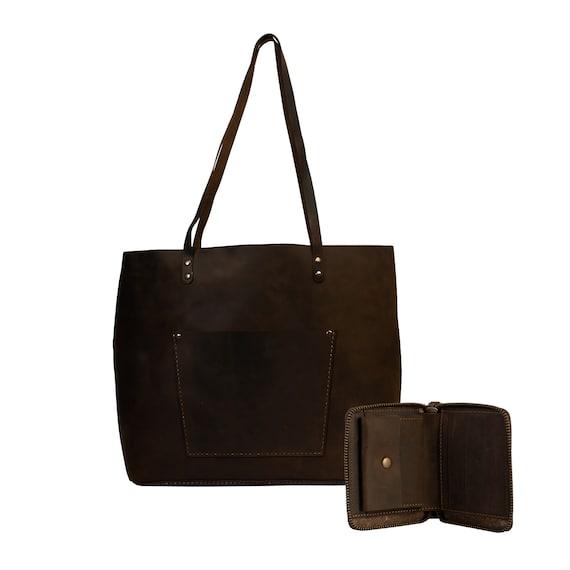 Lone Deer Leather Large Tote Bag + Wallet