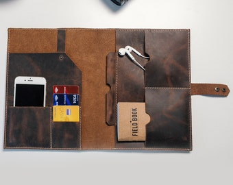Leather iPad organizer case, Personalized Leather Notebook Cover, Journal Cover with Pen Loop