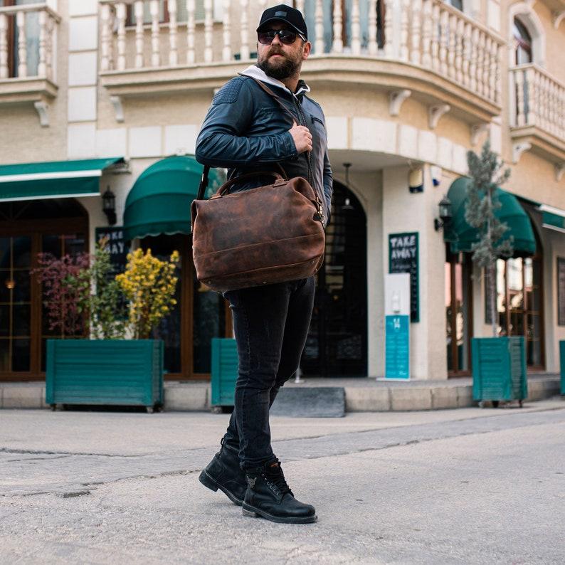 Leather travel bag Leather Weekender bag Leather overnight bag image 0