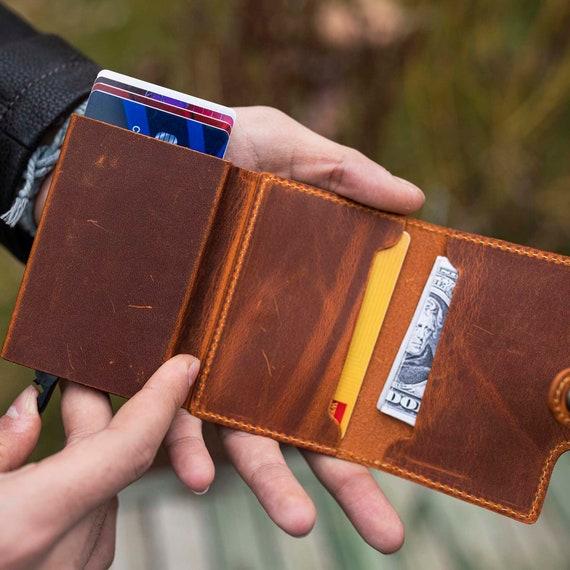Leather Cardholder Gift for Traveler Credit Card Holder Bifold Wallet Handmade Cardholder