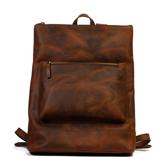 Leather Slim Backpack, Travel backpack, Hipster backpack Laptop Backpack, Travel Rucksack, Computer Bag