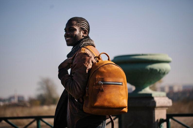 Men Leather Backpack Laptop Backpack Travel Backpack Black image 0