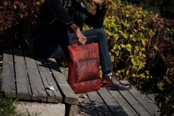 City Backpack, Leather Slim Backpack, Leather Book Bag, Carry All Bag, Knapsack