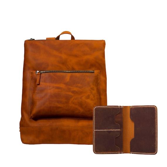 Lone Deer Leather Slim Backpack + Passport Wallet