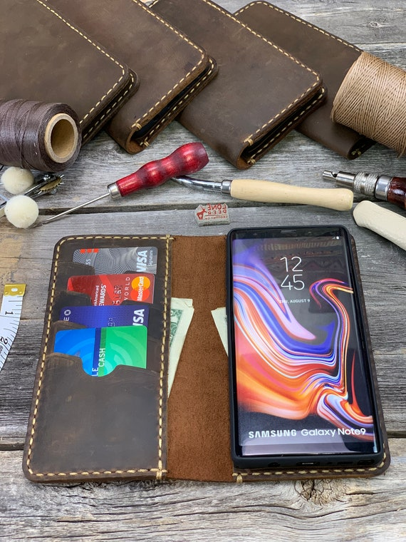 Samsung Galaxy Note9 Leather Wallet Case, Galaxy Note9 case,  Leather Case for Samsung Note9 - IDTEXAS- Note9