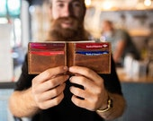 Leather Wallet Handmade leather wallet Leather Personalized Wallet Man Wallet minimalist wallet Groomsmen Gift- Cinnamon TEXAS0028