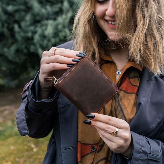 Leather wallet, zipper clutch, travel wallet, Leather zipper wallet