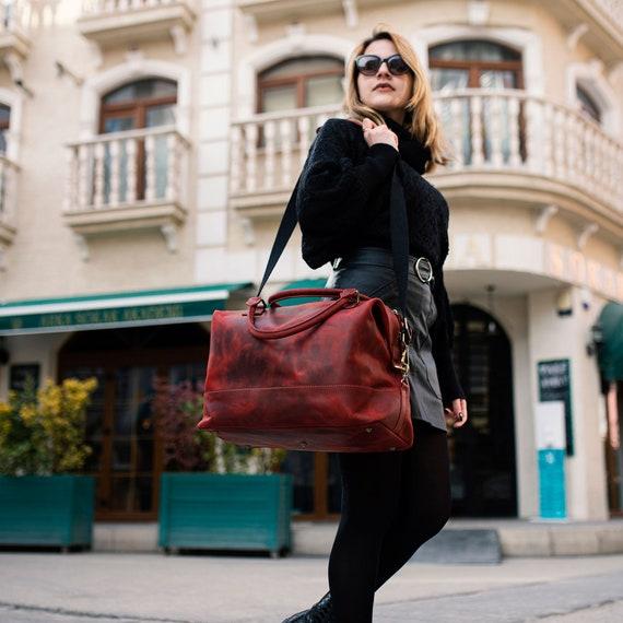 Leather Travel Bag, Burgundy Duffel Bag, Leather Duffel Bag, Matte Leather Travel bag, Weekender bag