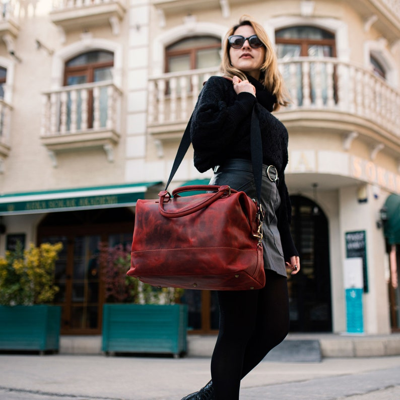 Leather Travel Bag Burgundy Duffel Bag Leather Duffel Bag image 0
