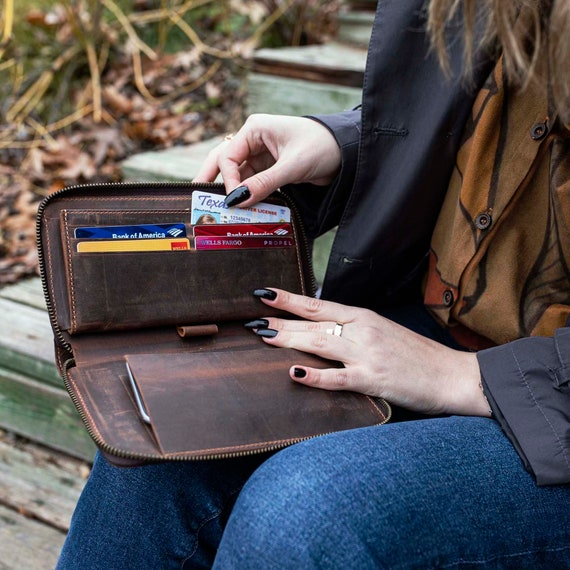 Personalized Tan Leather Women Zip Around Wallet, Leather Women Wallet, Zip Around Wallet, Personalized Gift
