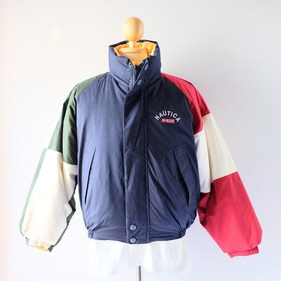 90s Nautica Down Puffer Color-block Reversible Jac