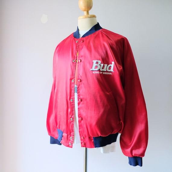 Vintage90s!!BUDWEISER King Of Beer Genuine Budweiser Side Tape Windbraker Lightwear Zipper Jacket Budweiser Jacket Men/'s Clothing Size Large