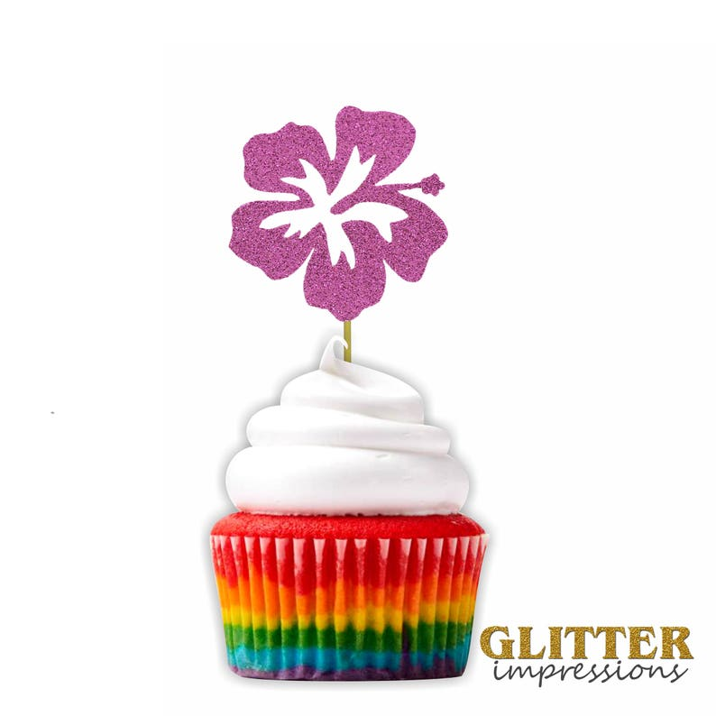 Hibiscus Flower Cupcake Topper Hawaiian Themed Party Cupcake Etsy