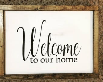 Welcome and Stay Awhile Sign, Double Sided Sign, Reversible Sign, Two Sided Sign, Framed Sign