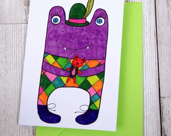 Purple Monster Greeting Card - Cute Monster - Blank Card - Birthday Card - Thank You Card -