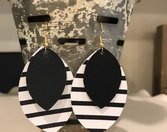 Two layered Custom Mary handmade leather earring.
