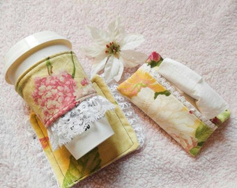 Floral lacey Cup cozy, Coaster and Tissue Holder set