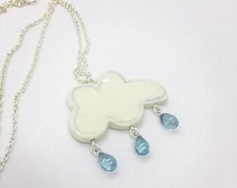 Cloud necklace, ceramic cloud, cloud pendant, ceramic pendant, cloud with rain, artistic ceramics, long necklace, cloud with drops