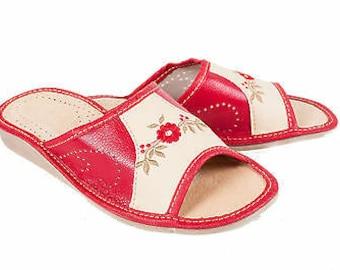 Womens 100/% Eco Leather Slip On Sandals Slippers Ladies Mule Beach Black Red
