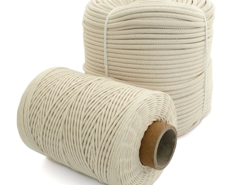 Natural Cotton Rope Cord Sash Washing Clothes Line Pulley 16 Strand 4-12mm