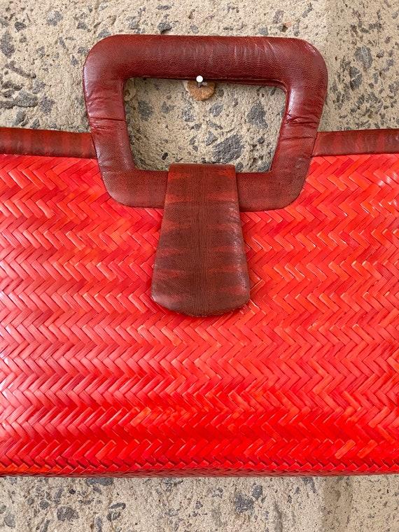 Vintage 1960s Snakeskin & Straw Handbag | 60s Phi… - image 3