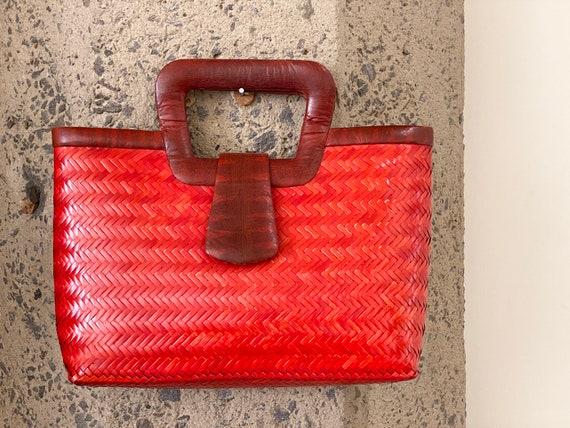 Vintage 1960s Snakeskin & Straw Handbag | 60s Phi… - image 8