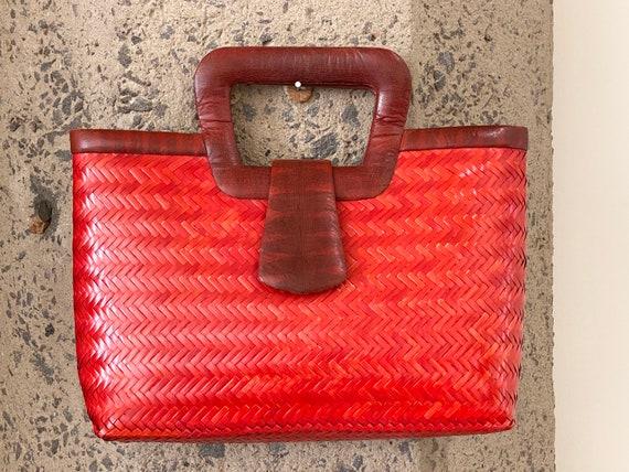 Vintage 1960s Snakeskin & Straw Handbag | 60s Phil