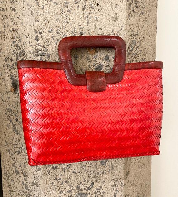 Vintage 1960s Snakeskin & Straw Handbag | 60s Phi… - image 4
