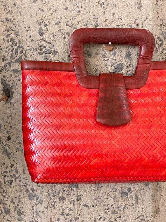 Vintage 1960s Snakeskin & Straw Handbag | 60s Phi… - image 2