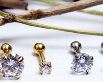 1pair Ohrpiercing Helix carrying ear piercing cubic zirconia stainless steel earrings ear piercing medical steel surgeon Steel Gold Silver