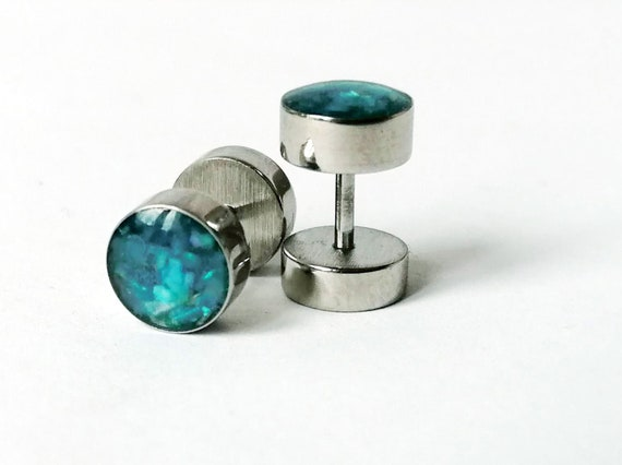 8MM Men Women Stud Earrings Titanium Steel Tunnel Plug Screw Back 1 pairs