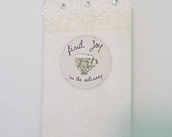 "Mini Pocket Notebook- ""Find Joy in the Ordinary"" journal, upcycled, handmade"