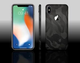 iPhone X 10 Black Shadow Camo Phone Skin