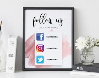 Follow Us On Social Media Business Sign Social Media Sign