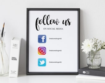 Social media sign etsy follow us on social media business sign social media sign with icons office sign call to action sign marketing sign business template wajeb Gallery