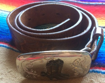 Rodeo Belt and Boot Buckle Genuine Leather Small