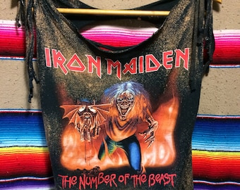 Iron Maiden Number of the Beast Perfectly Distressed Shredded Bleached Tee