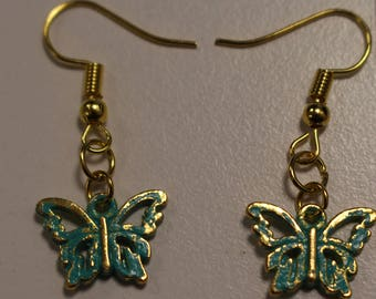 Green stained gold plated Butterfly earrings
