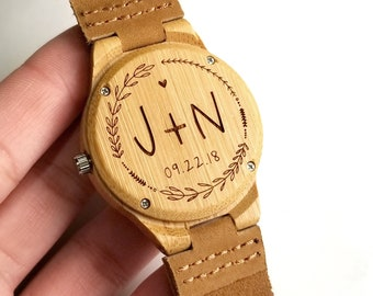 5th Anniversary Leather Watch Wood Wedding Gift for Bride from Groom Engraved Watch Wooden Watch Womens Gift for Her Wood Watch Personalized