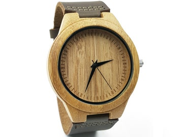 Custom Wedding Gift for Groom from Bride Engraved Watch Bamboo Leather Watch Men Gift for Her Wood Watch Personalized Watch 5th Anniversary