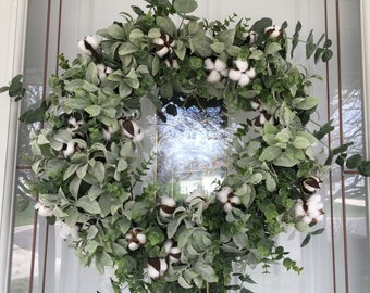 Farmhouse Wreath For Front Door Spring Wreath Rustic Wreath Year Round  Wreath Summer Wreath Gift Ideas Housewarming Green Front Door Wreath