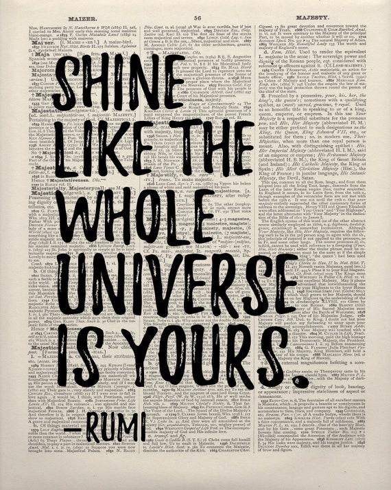 Rumi Literarische Druck Rumi Zitat Rumi Druck Gedichte Geschenk Für Buchliebhaber Rumi Wörterbuch Druck Vintage Geschenk Alte Buchkunst Home
