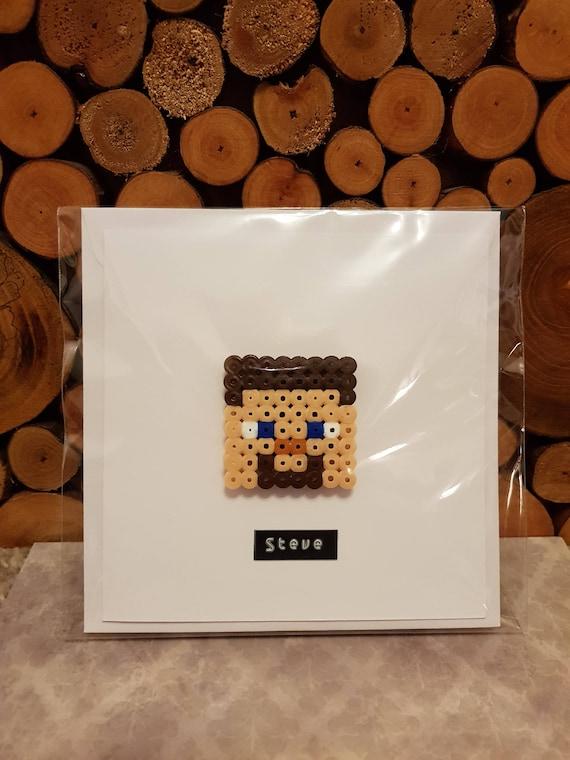 3d Pixel Art Greeting Card Minecraft Fan Art Steve Minecraft Inspired Magnet Minecraft Gift Card Gaming Card Kids Birthday Card
