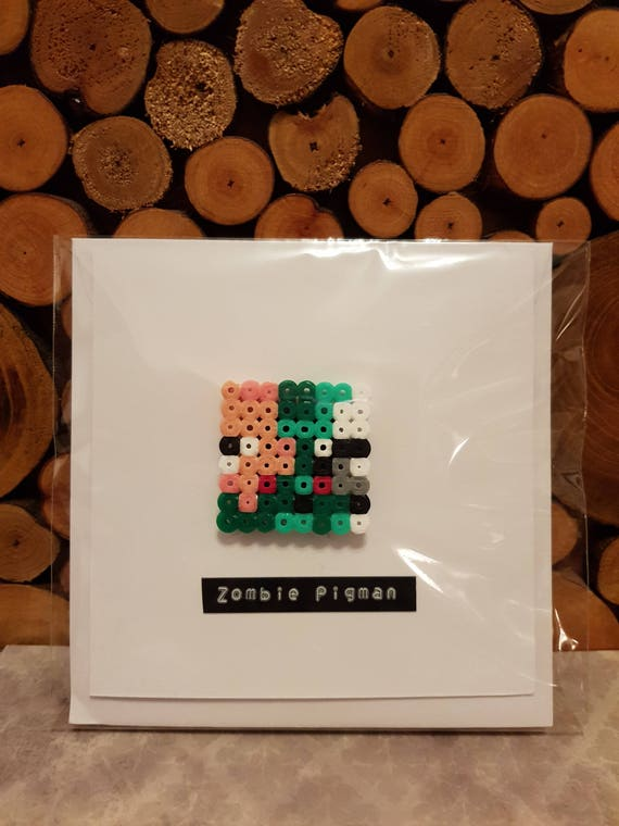 3d Pixel Art Greeting Card Minecraft Fan Art Zombie Pig Man Minecraft Inspired Magnet Minecraft Gift Card Gaming Card