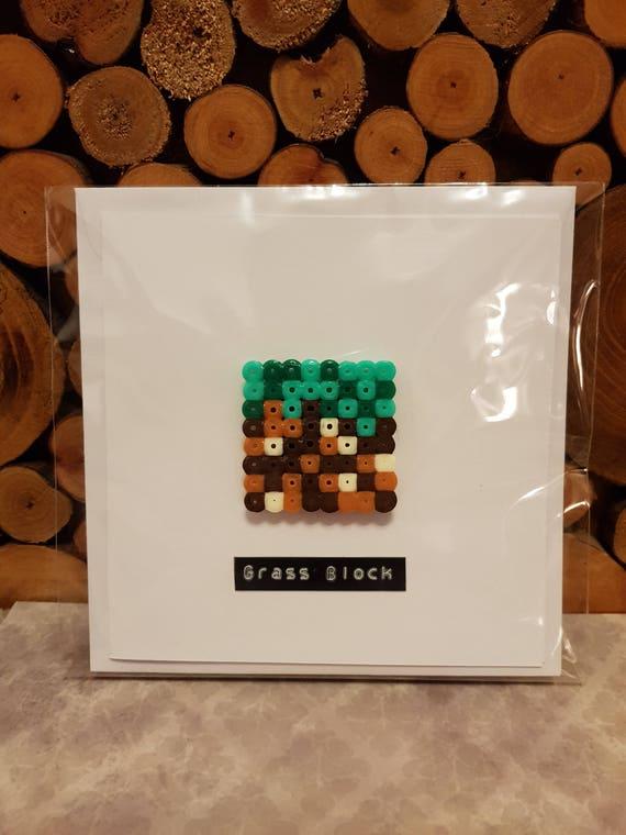Inspiré De Pixel Art De Voeux Carte Fan Art Herbe Bloc Minecraft 3d Magnet Minecraft Cadeau Carte Jeux Enfants Carte Danniversaire