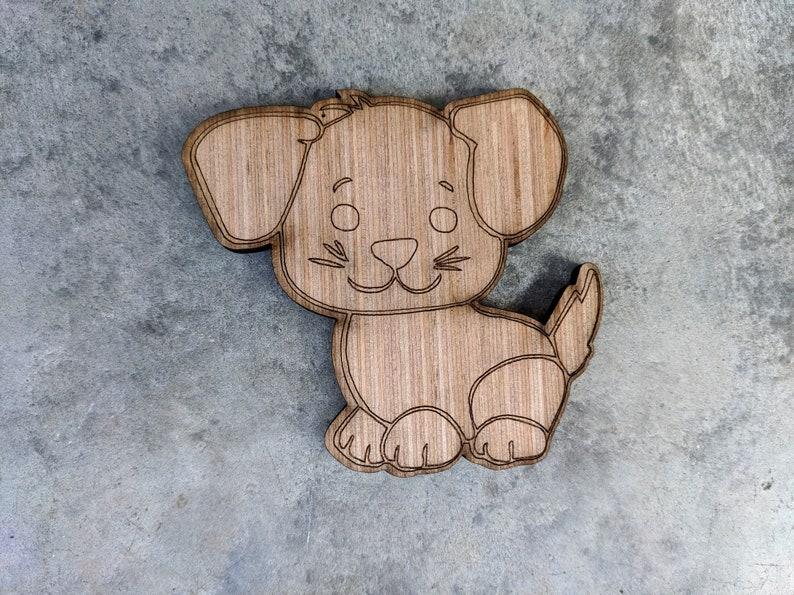 Dog Wood Cutout Wooden Dog puppy Dog ornament Dog puppy Wood Craft Dog Wooden Cutout DIY Laser Dog puppy cut Dog DIY Wood piece