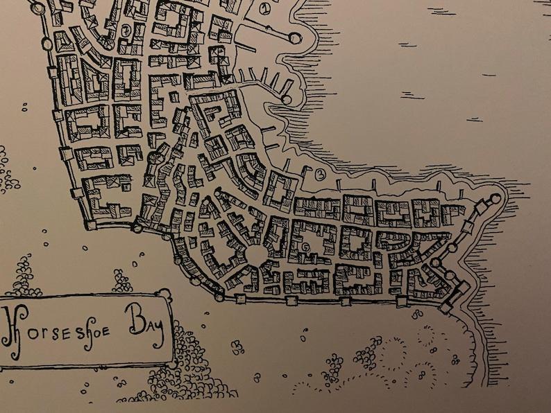 top-down view carthography Fantasy City map Horseshoe Bay art print